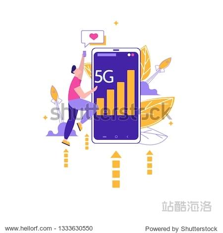 Concept of start up business  enterpreneur  5G Internet connection on rocket  network system in clouds. Vector illustration in flat design