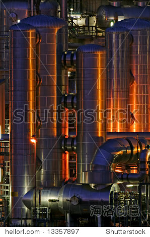 Intimate details of a chemical production facility at night