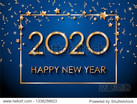 2020 Happy New Year text for greeting card  with gold glitter stars and confetti  calendar  invitation. Vector illustration.