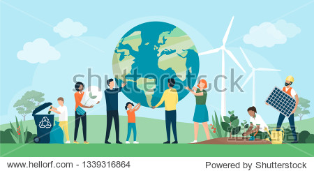 Multiethnic group of people cooperating for environmental protection and sustainability in a park: they are supporting earth together  recycling waste  growing plants and choosing renewable resources