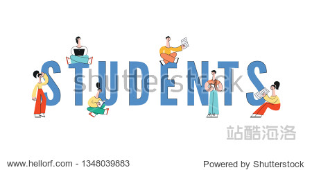Vector happy teen girls  men students sitting legs crossed typing at laptop  reading textbooks. Cheerful smiling female character for school  university or college education design.