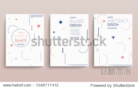 Placard templates set with abstract shapes  80s memphis geometric style flat and line design elements