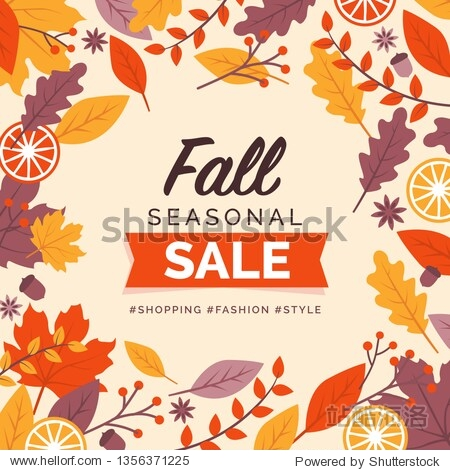 Fall seasonal sale promotional card and social media post design with decorative frame