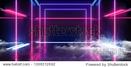 Smoke Smoke Construction Hall Grunge Glossy Concrete Futuristic Sci-FI Empty Dark Reflective Modern Stage Room With Blue And Purple Glowing Neon Lights Background Virtual Path Background 3D Rendering