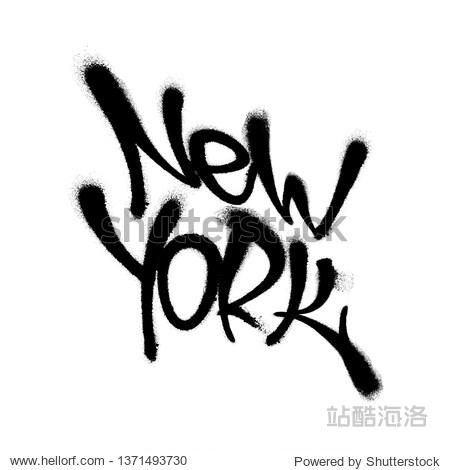 Sprayed New York font graffiti with overspray in black over white. Vector illustration.