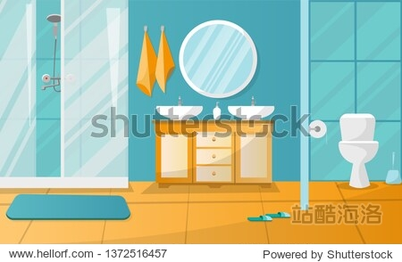 Modern bathroom interior with shower cabin. Bathroom furniture - stand with two sinks  towels  liquid soap  roundl mirror  toilet. Flat cartoon illustration