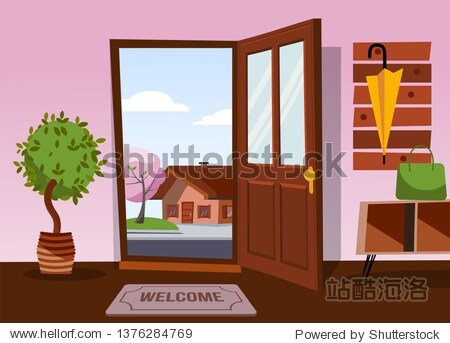 The interior of hallway in flat cartoon style with open door overlooking winter landscape with small snowy house and tree.Hanger with down jacket and mittens on wall. Soft bench stands under coat rack