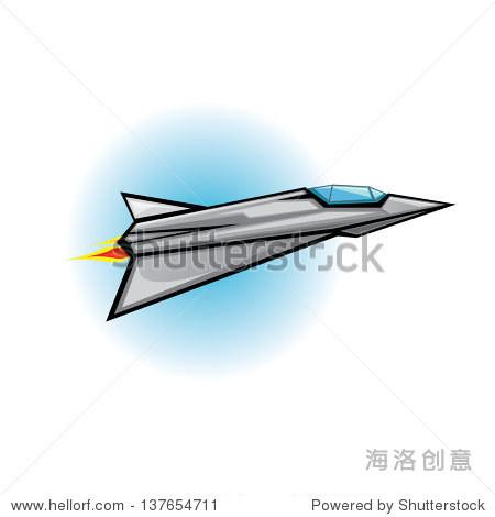 Flying jet fighter with missile. Vector illustration of war plane in sky