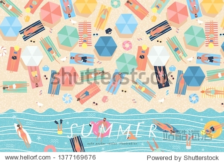 Summer background. Vector illustration of sunbathing people on the beach and swimming in the sea. Drawing by hand the summer holiday season  rest  relaxation and summer.