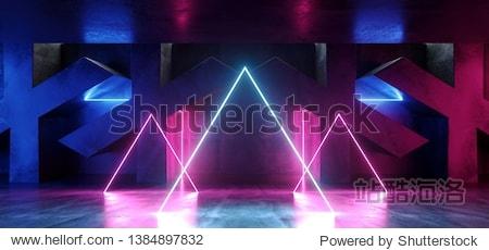Dark Vibrant Circle Triangle Neon Retro Fluorescent Laser Virtual Reality Purple Blue Pink Glowing Lights On Concrete Grunge X Shaped Room Hall Corridor Glossy Sci Fi Futuristic Modern 3D Rendering