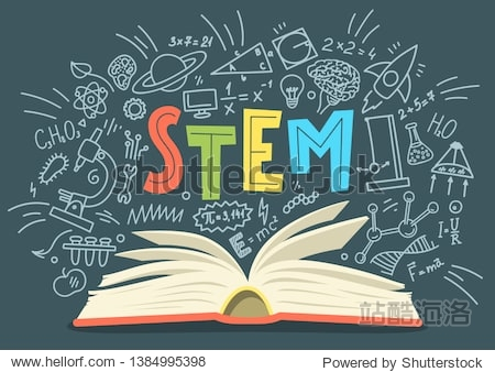 STEM. Science  technology  engineering  mathematics. Stack of books with science education doodles