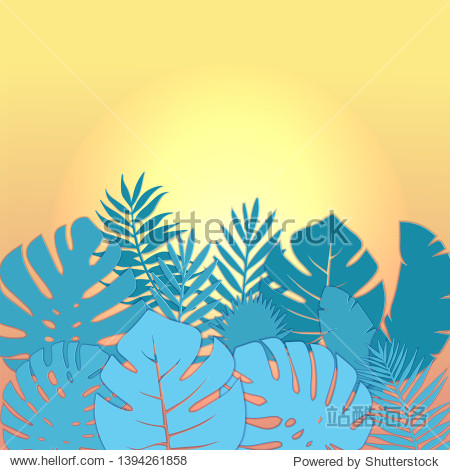 Square Summer sale banner design with paper cut tropical palm leaves background with free space fot text. illustration. Exotic Hawaiian Monstera jungle floral forest. Papercut travel layout