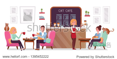 Cat cafe shop  people single and couple relaxing with kitties. Place interior to meet  have a rest with pets  waitress tray with cake and coffee. flat cartoon illustration on white background