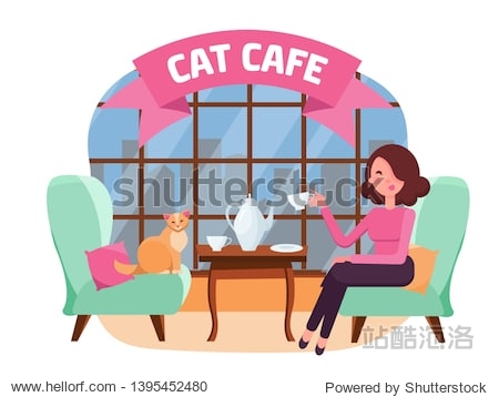 Interior of cat cafe with large window  woman and Kitty in comfortable armchairs. Girl and cat Tea party. Spending time with pet. Arcuate Ribbon with Text. Flat cartoon illustration pink colors