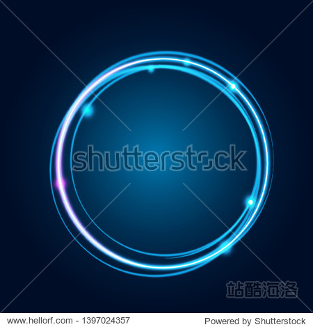Neon glowing techno lines  hi-tech futuristic abstract background template with square shapes