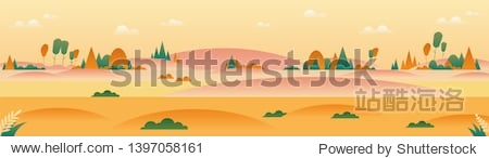 Autumn landscape panoramic background in minimalist style. Vector nature illustration.