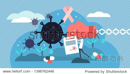 Oncology vector illustration. Flat tiny cancer disease research persons concept. Abstract symbolic fight against illness with pharmacy pills and medicine. Radiology diagnosis and sickness therapy.