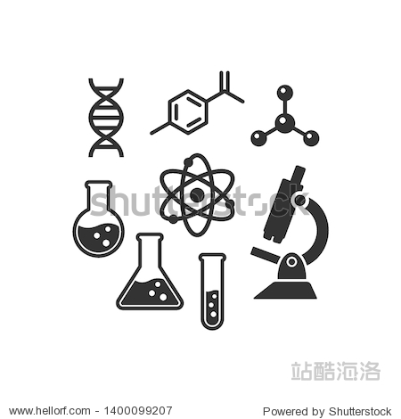 Chemistry vector icon set. Black isolated laboratory science icons. Dna chain  microscope  lab flask molecule and atom symbols.