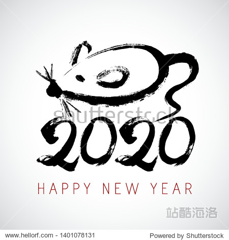 Greeting card design template with chinese calligraphy for 2020 New Year of the rat. Lunar new year 2020. Zodiac sign for greetings card  invitation  posters  banners  calendar