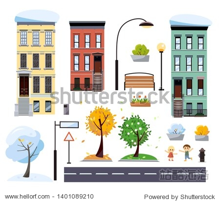 Flat cartoon style two-story city houses  street with road  trees  bench  road signs  lanterns. City constructor with elements. Four seasons in city Summer  fall  spring  winter cityscape.