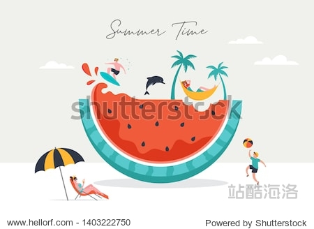 Summer scene  group of people  family and friends having fun against the huge watermelon  surfing  swimming in the pool  drinking cold beverage  playing on the beach