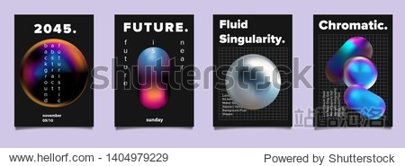 Set of vector sci-fi retrofuturistic posters for science or IT event. Oily neon holographic 3d solids of matter on dark background.