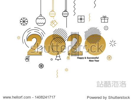 Business Happy New Year 2020 greeting card. Vector illustration concept for background  greeting card  banner for website  social media banner  marketing material