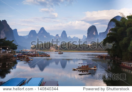 karst mountain landscape and reflection in yangshuo, guilin,