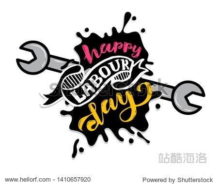 hand lettering Happy labor day - May Day Celebration on May 1st. illustration for Greetings  Banner  Background  Template  Badge  Symbol  Icon  Logo and Print design.