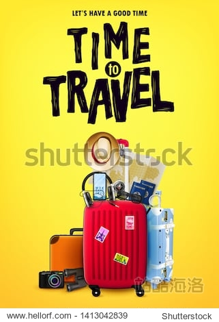 Time to Travel Tourism Poster Concept Front View with Red 3D Traveling Bag and Realistic Travel Item Elements in Yellow Orange Background Design. Vector Illustration