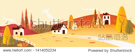 Panorama Vector illustration of Countryside landscape in autumn   banner of farm house or countryside .The yellow foliage mountains or hill with falling leaves barn and pumpkin with noise and grain.
