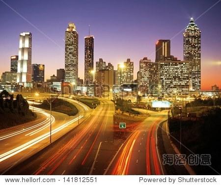 City skline at dusk  Altanta  Georgia  USA.