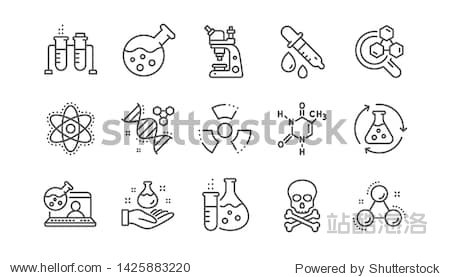 Chemistry lab line icons. Chemical formula  Microscope and Medical analysis. Laboratory test flask  reaction tube  chemistry lab icons. Linear set. Vector