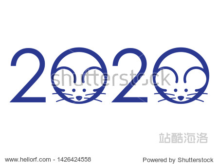 The year 2020  the Year of the Rats  symbol with rat icons. Vector illustration isolated on a white background.