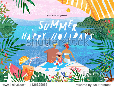 Summer family happy holidays! Vector illustration of mom  dad and child at the resort near the sea for a banner  card or poster. Drawing family resting on the beach