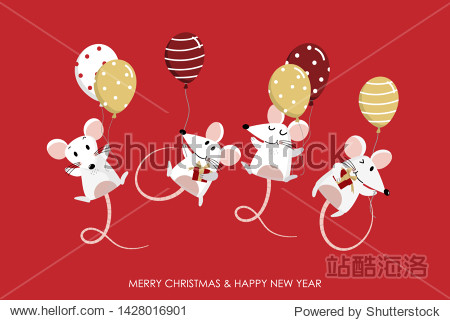 Merry Christmas and happy new year greeting card. 2020 Rat zodiac. Cute mouse and balloons. Animal cartoon character set. -Vector