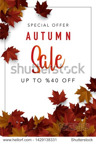 Autumn sale poster. Fall sale background with maple leaves.  Vector illustration for web banner  card  leaflets  posters  banners  promotions.
