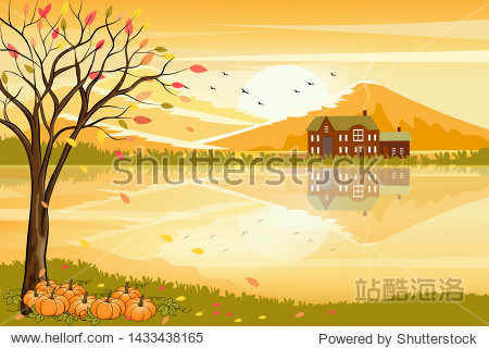 Vector illustration of panorama autumn landscape in countryside with forest trees and leaves fallingPanoramic of farm field  with reflection farmhouse and hills on the lake in fall season with yellow