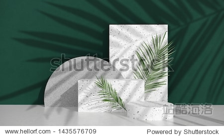 Podium stand with terrazzo and stone on bright background of green wall with shadow of tropical palm leaves.Showcase for cosmetic products and goods shoes bags watches -  illillustration - 3D  render.