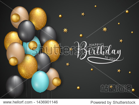 Happy birthday vector illustration - Golden star and color balloons
