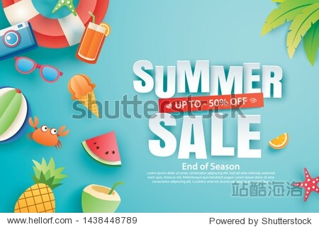 Summer sale with decoration origami on blue sky background. Paper art and craft style. Vector illustration of ice cream  watermelon  sunglasses.