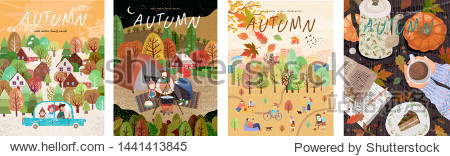 Autumn. Set of vector illustrations of a happy family on holidays at a picnic  car trips  a park with leaf fall and a cozy table with coffee. Freehand drawings for a poster  banner or card