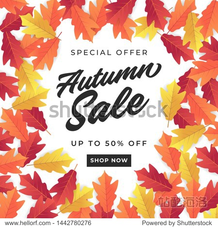 Autumn sale banner for shopping sale. Colorful autumn leaves background.