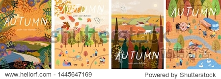 Autumn nature. Cute vector illustration of landscape natural background  village  people on vacation in the park at a picnic  forest and trees. Drawings from the hand
