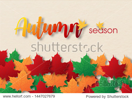 Colorful and heap of maple leaves with wording of season  All on paper textured and cream color background in vector design.
