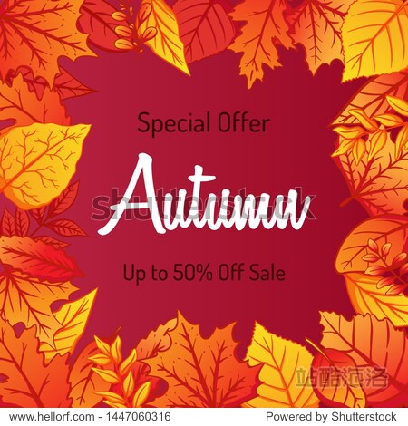 Autumn Background Decorate With Colorful Leaves For Shopping Sale