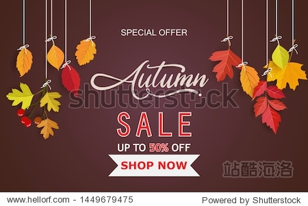 Autumn background and handwriting. autumn design with leaves. background  template and poster design