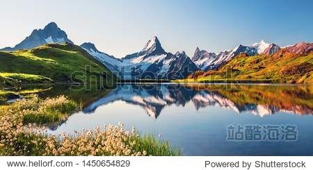 Sunrise view on Bernese range above Bachalpsee lake. Highest peaks Eiger  Jungfrau and Faulhorn in famous location. Switzerland alps  Grindelwald valley