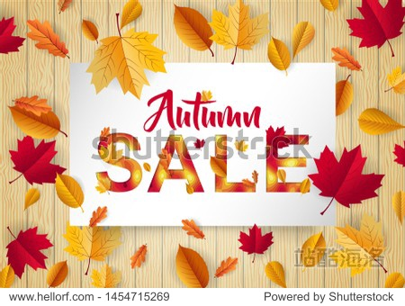 autumn sale decoration for advertising  discount and marketing with paper cut style. retail and commercial special price decorated with dried maple leaf fall. eps 10 vector.