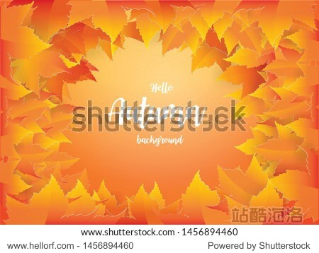 Autumn background with red  orange  brown and yellow falling autumn leaves paper craft Design Vector and illustration